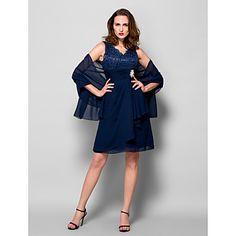 A-line Plus Sizes / Petite Mother of the Bride Dress - Dark Navy Knee-length Sleeveless Chiffon / Lace – USD $ 89.99