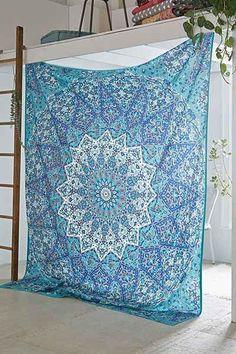 Bleu psych d lique hippie du tenture murale tapisserie de for Tapisserie murale de luxe