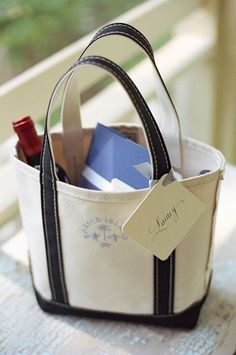 Sturdy canvas bag with some wine and other goodies