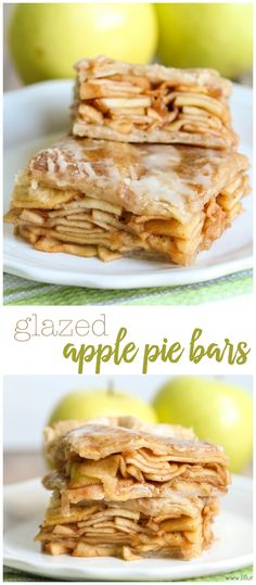 Glazed Applie Pie Bars - stacked with soft cinnamon apple slices and topped with a delicious white glaze (kids cooking party apple pies) Pot Roast Recipes, Apple Recipes, Fall Recipes, Baking Recipes, Just Desserts, Delicious Desserts, Dessert Recipes, Yummy Food, Creative Desserts