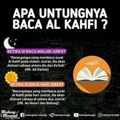 Manfaat membaca surah Al Kahfi. Islamic Prayer, Islamic Qoutes, Islamic Messages, Islamic Inspirational Quotes, Muslim Quotes, Hijrah Islam, Muslim Quran, Doa Islam, Fact Quotes