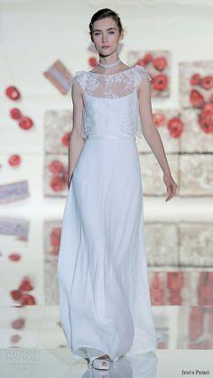 jesus peiro bridal 2017 cap sleeves illusion bateau neck aline wedding dress (10) mv