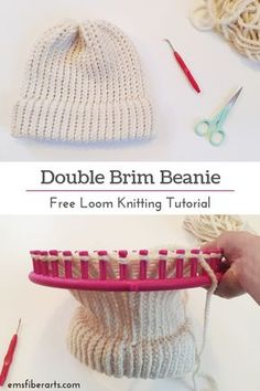 Learn To Loom Knit: Double Brim Beanie TutorialYou can find Loom knitting and more on our website.Learn To Loom Knit: Double Brim Beanie Tutorial Loom Knitting Blanket, Round Loom Knitting, Loom Knitting Stitches, Loom Knit Hat, Loom Knitting Projects, Knitted Hats, Knitting Tutorials, Knitting Ideas, Loom Blanket