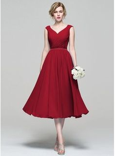 With brown boots? A-Line/Princess V-neck Tea-Length Ruffle Zipper Up Cap Straps Sleeveless No Other Colors Spring Summer Fall General Plus Chiffon Bridesmaid Dress