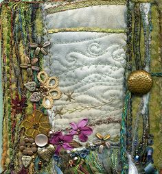 detail of art quilt on hand-made book by molly jean hobbit, via Flickr