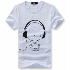 JVR Men Cotton Short Sleeve Crew Collar Music T-shirt in White - Shipping Cap Promotion- - TopBuy.com.au