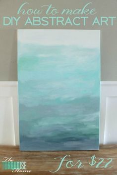 Gorgeous blue waters have the makings of an expensive abstract art piece, but it's not! It's a quick DIY project with just paint and a canvas! Less than $22 for custom, gorgeous art in your home. | Tutorial at TheTurquoiseHome.com #canvaspaintingprojects