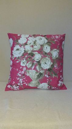 *Cushion Cover Only* Floral bloom printed on a cotton linen mix,pink. Floral Cushions, Cotton Linen, My Etsy Shop, Bloom, Gift Wrapping, Throw Pillows, Check, Prints, Cotton Sheets