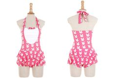 Bunny Pattern Printed Black and Pink Dress Swim Suit Swimsuit