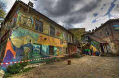 Vilnius  Lithuania    'Houses in Uzupio' On Black