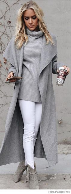 White jeans, grey sweater and long coat
