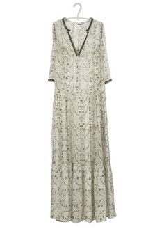 Robe longue brodée Kaki by STELLA FOREST Stella Forest, Layered Bob Hairstyles, Short Sleeve Dresses, Dresses With Sleeves, Layers, Bohemian, Hair Styles, Winter, Inspiration
