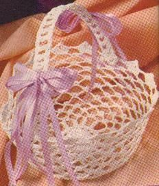 A crochet easter basket. All you need is a cool whip container and fabric stiffener.