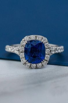 Engagement Rings : Picture Description 30 Vivid Sapphire Engagement Rings ❤️ sapphire engagement rings halo white gold pave band ❤️ See more: Engagement Ring Pictures, Dream Engagement Rings, Halo Engagement, Engagement Rings With Sapphires, Blue Sapphire Rings, Blue Topaz Ring, Morganite Engagement, Stainless Steel Rings, Diamond Wedding Bands