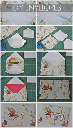 DIY envelopes, and maybe good wall hangings? Put a postcard in them and then hang? Honey We're Home: DIY Envelopes