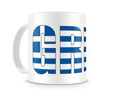 Tasse mit Griechenland / Greece Schriftzug. Eine Tasse bedruckt mit dem Schriftzug Griechenland / Greece
