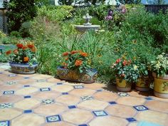 Interesting idea to intersperse tiles with smaller decorative tiles outside.  http://www.houzz.com/outdoor-european-terra-cotta-tile-parefe