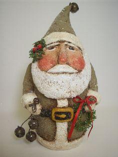 Primitive Papier Mache Folk Art Santa With by papiermoonprimitives