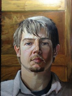 Self Portrait - Oil on wood by Dustin Sheline, via Behance