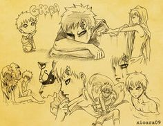 Gaara Sketches by xioara09