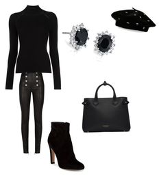 """All  black"" by nkotovic on Polyvore featuring Balmain, Gianvito Rossi, Burberry, Steve Madden, Blue Nile and allblackoutfit"