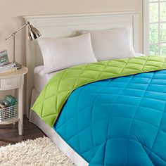 neon green and turquoise bedding