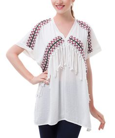 $16.99 Love this White Embroidered Fringe Linen-Blend V-Neck Tunic on #zulily! #zulilyfinds