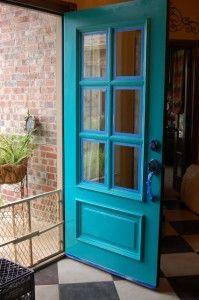 bright front doors | Bright Turquoise Painted Front Door