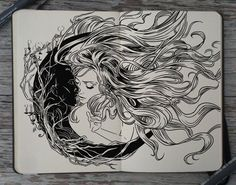 """artist Gabriel Picolo has embarked on a challenge for 2014 called '365 Days of Doodles'. here is just one """"doodle"""" :) sun and moon. forbidden love. insta: @_picolo."""