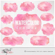 Watercolor Labels Watercolor Frames Digital от BlackCatsMedia