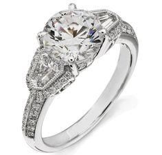 Round Diamond Engagement Ring Bullet Side Stones