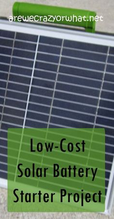 Step by step directions for building a low cost solar battery for basic camping or power outage needs.