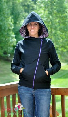 His & Her's Asymmetrical Hoodie & Hooded Vest is a modern and trendy, yet practical, hooded sweatshirt with clean lines and an asymmetrical zipper and optional pockets. Not only is it comfo… Diy Clothes Refashion, Hooded Sweatshirts, Hoodies, Hoodie Pattern, Dress Making Patterns, Hooded Vest, Handmade Clothes, Sewing Clothes, At Least