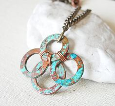 Copper Patina Necklace Copper Washer Necklace by LittleMissHaywire