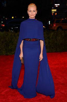 Cameron Diaz illuminated in her cobalt Stella McCartney cape dress and gold spiked belt. #MetGala