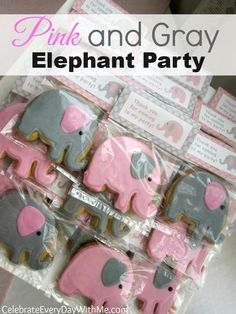 Pink and grey elephant sugar cookies