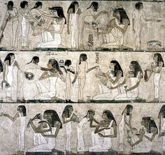 ancient wall paintings in Egypt/Kemet showcasing daily life activities, especially cooking, preparing and serving meals, etc.