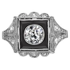 Art Deco Onyx Diamond Platinum Ring | From a unique collection of vintage cocktail rings at https://www.1stdibs.com/jewelry/rings/cocktail-rings/
