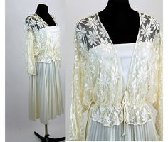 Lovely 1970s dress with lace jacket white ivory by vintagerunway