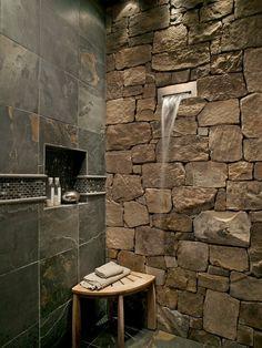 Waterfall rock showers