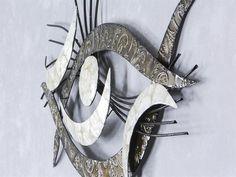 Nice WAND DEKO Auge Muschel aus Metall Breite cm H he cm schwarz mit silber