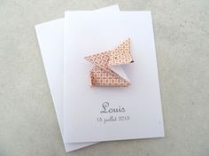 Faire part de naissance - baptême - carte de remerciement renard en origami pour fille ou garçon orange : Faire-part par papierelief