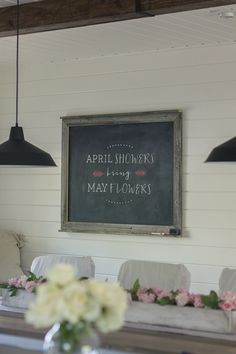 DIY chalkboard wall hanging (and horizontal wood plank walls)