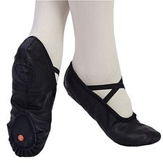 Adult Kids Ballet Gym Genuine Leather Shoes Slippers Pig Skin Black -- Find out more details @ http://www.amazon.com/gp/product/B018269DLK/?tag=lizloveshoes-20&hi=230716233252