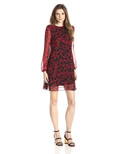 Taylor Dresses Womens Long Sleeve Printed Shift Dress with Smoking At Shoulder CrimsonBlack 10 *** Details can be found by clicking on the image.(This is an Amazon affiliate link and I receive a commission for the sales)