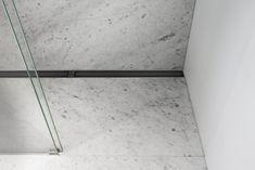 Bespoke HighLine Colour (Black) Installed in white marble Marble Bathroom Floor, Marble Floor, Scandinavian Bathroom Accessories, Linear Drain, Floor Drains, Wet Rooms, Steel Wall, Colour Black, White Marble