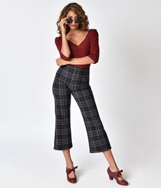 7365f694837 Slip into a pair of vintage inspired tartan culottes! A unique burgundy and  grey pattern covers these high waisted