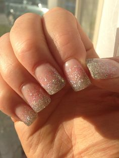 Silver & pink gel nails