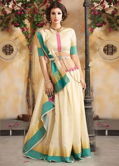 Cream Tussar Silk Stripe Patterned Saree - H1306 | Indian Silk House Agencies