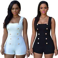 Women Sexy Black Rompers Short Jumpsuits White Bodysuits Monos ...